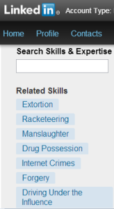 LinkedIn - Unusual skill-sets that you can choose