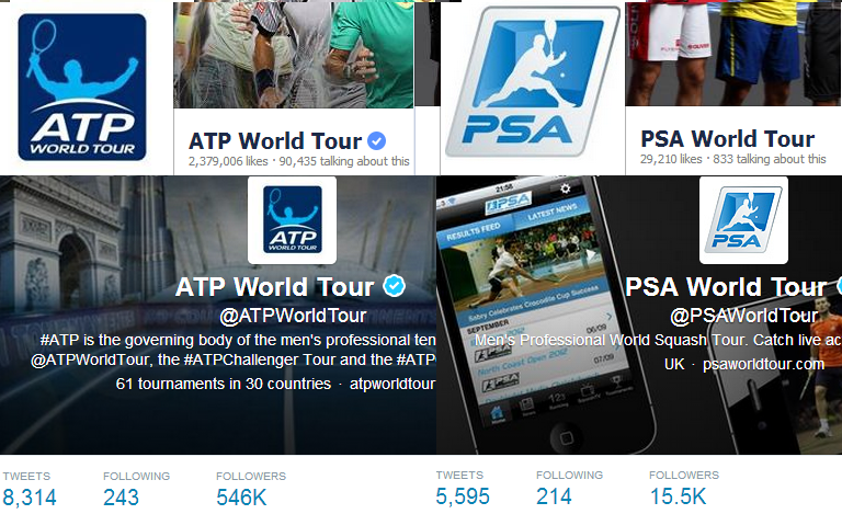 Tennis & Squash Professional bodies on Social Media