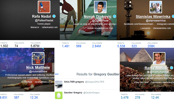 Tennis vs. Squash Pros on Twitter