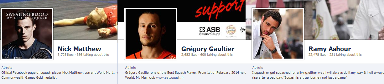Top 3 Squash Pros on FB