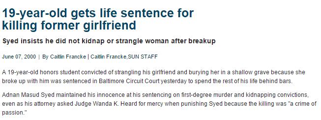Adnan Syed Murder -Baltimore Sun
